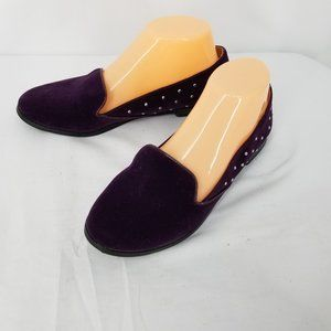 Quipid Purple Faux Suede Studded Sides Loafer 7M